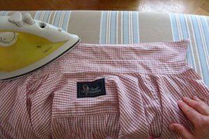 Глажка рубашки в розовую полоску