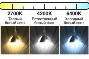 Показатели цветовой температуры у светодиодных ламп