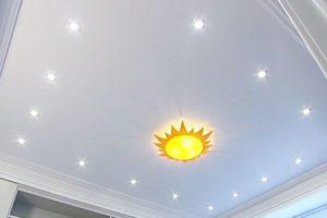 Натяжной потолок со светодиодными лампами