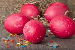 Яйца пасхальные розовые