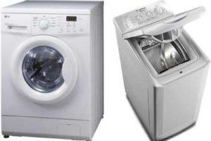 Две стиральные машины с вертикальной и горизонтальной загрузкой