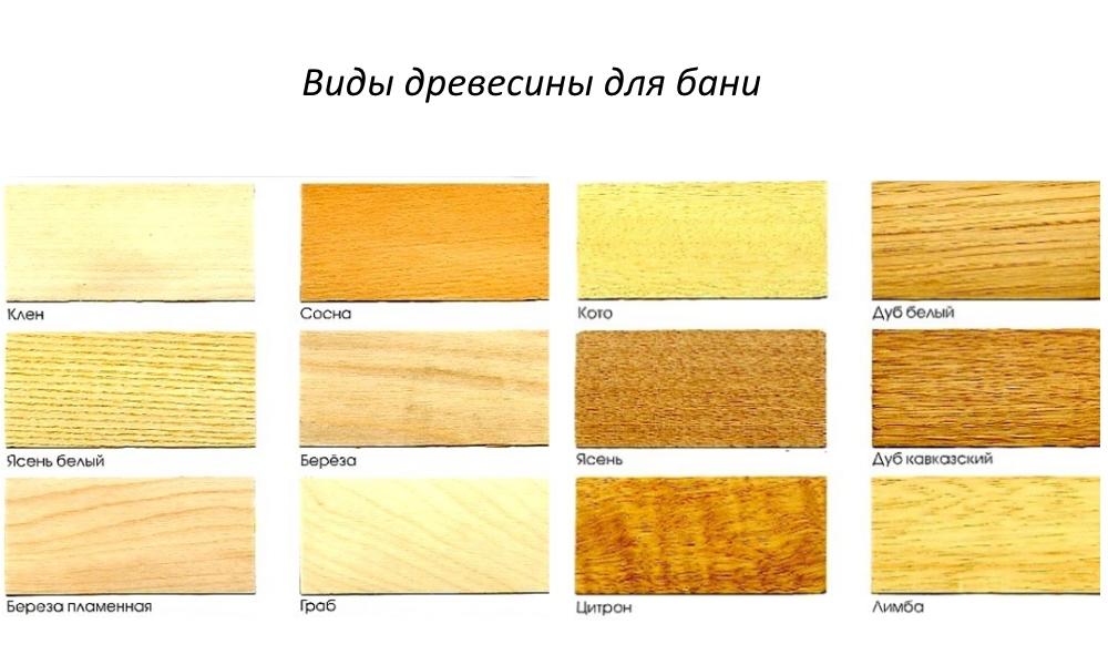 виды древесины для строительства бани