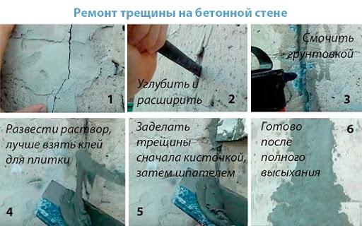 Заделка трещин в стене из бетона
